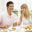 Middle Aged Couple Enjoying Hotel Breakfast — Stock Photo #4796546