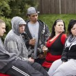 Gang Of Youths Sitting On Cars — Stock Photo #4796752