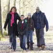 Family On Autumn Walk In Countryside — Foto Stock