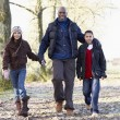 Father And Children On Autumn Walk — Foto de Stock