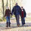 Father And Children On Autumn Walk — Foto Stock
