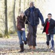 Father And Children On Autumn Walk — Stockfoto