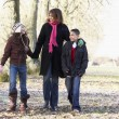 Mother And Children On Autumn Walk — Photo