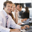 Stock Trader Smiling At Camera — Stock Photo