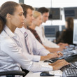 Stock Traders Working At Computers — Stock Photo