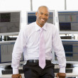 Portrait Of Stock Trader In Front Of Computer Monitors — Stock Photo #4797036