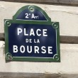 La Bourse Street Sign,Paris Stock Exchange — Stock Photo
