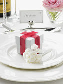 Place Settings For Bride And Groom At Reception — Stock Photo