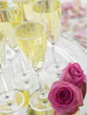 Champagne Glasses On A Silver Platter — Stock Photo