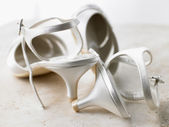 Abandoned Silver High Heels — Stock Photo