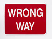 Wrong Way Road Sign — 图库照片