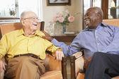 Senior men relaxing in armchairs — Stock Photo