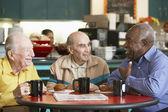 Senior men drinking tea together — Stock Photo