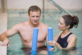 Instructor And Patient Undergoing Water Therapy — Stock Photo