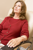Patient Sits Being Monitored — Stock Photo