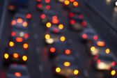 Tail Lights Shining Brightly In A Traffic Jam On Motorway — Stock Photo