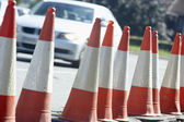 Traffic Cones Lined Up On The Side Of The Road — Stock Photo