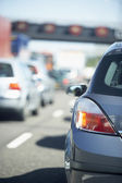 Cars Lined Up In A Traffic Jam On A Highway — Stock Photo