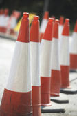 Road Cones Lined Up On The Side Of The Road — Stock Photo