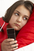 Young Girl Waiting For Phone Call — Stock Photo