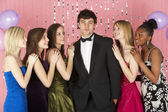 Teenage Girls Looking At Attractive Boy — Stock Photo