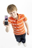 Young Boy With Mobile Phone — Stockfoto