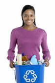 Woman Carrying Recycling Bin — Stock Photo