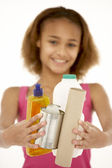 Young Girl Holding Recycling — Stock Photo
