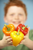 Young Boy Holding Colourful Peppers — Stock Photo