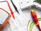 Electrical Equipment On House Plans — 图库照片