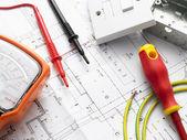 équipement électrique sur les plans de maison — Photo