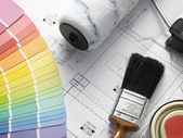 Decorating Equipment On House Plans — Stock Photo
