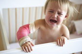 Crying Toddler With Arm In Cast — Stock Photo