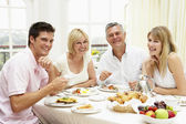 Family Group Enjoying Hotel Breakfast — Stock Photo