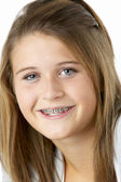 Portrait Of Smiling Teenage Girl With Braces — Stock Photo