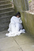 Homeless Girl Sleeping Rough — Stock Photo