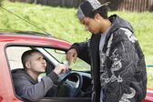 Young Man Dealing Drugs From Car — Stock Photo