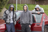 Group Of Young Men With Cars — Stock Photo