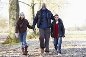 Father And Children On Autumn Walk — Stock Photo