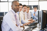 Team Of Stock Traders At Computers — Stock Photo