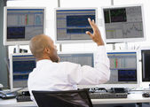 Stock Trader Talking Animatedly On The Phone — Stock Photo