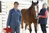 Vet In Discussion With Horse Owner — Stock Photo