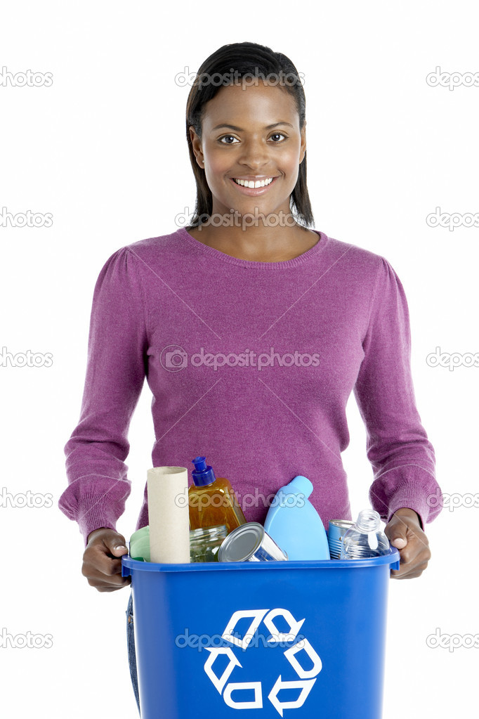 Woman Carrying Recycling Bin — Stock Photo #4795755