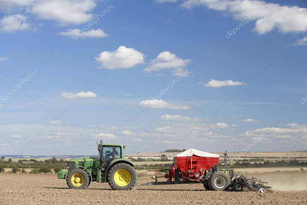 Tractor Planting Seed In Field — Stock Photo #4795972