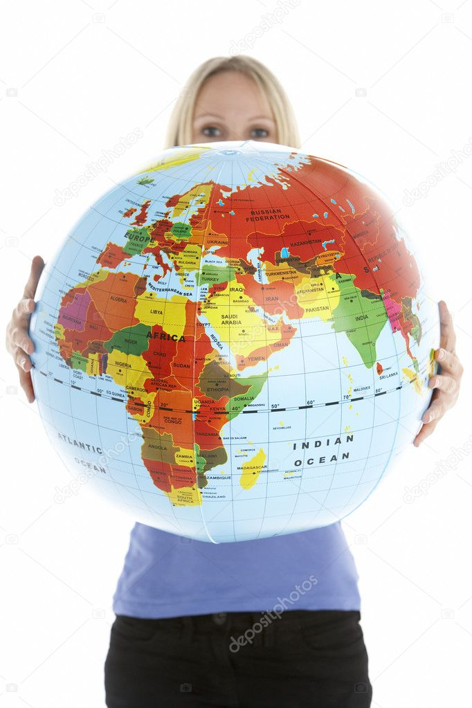 Woman Holding Globe  Stock Photo #4796011