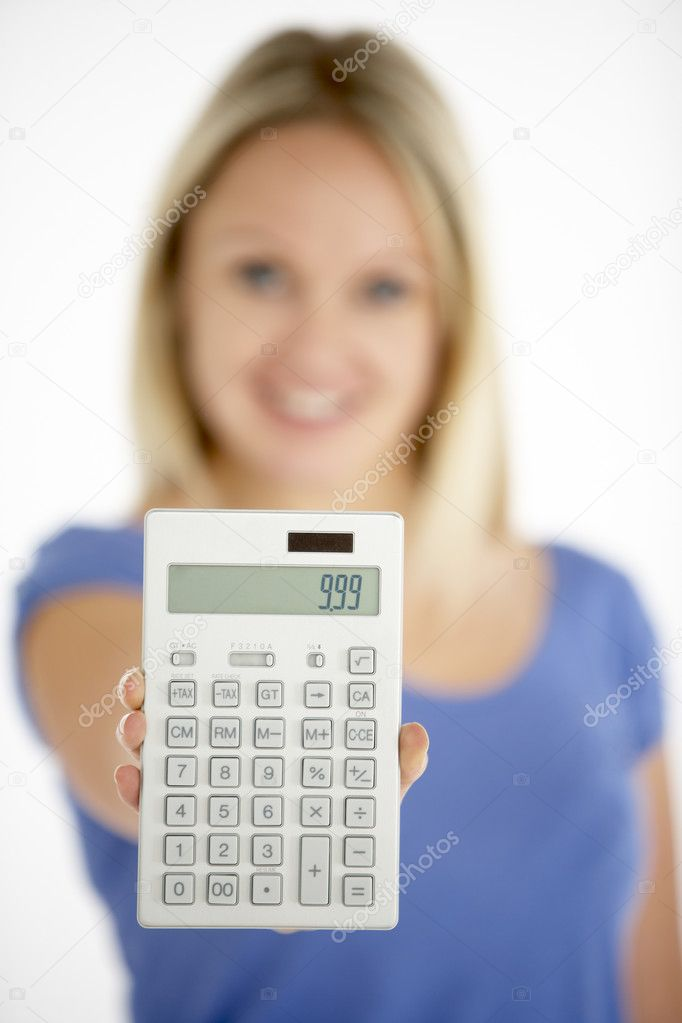 Woman Holding Calculator — Stock Photo #4796032