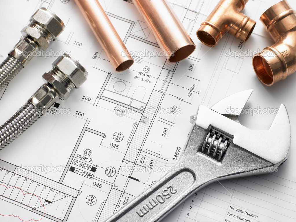 Plumbing Equipment On House Plans — Stock Photo #4796386