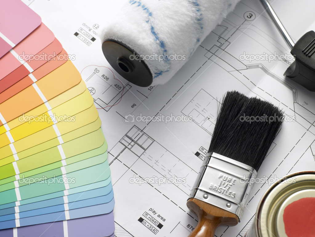 Decorating Equipment On House Plans — Stock Photo #4796387