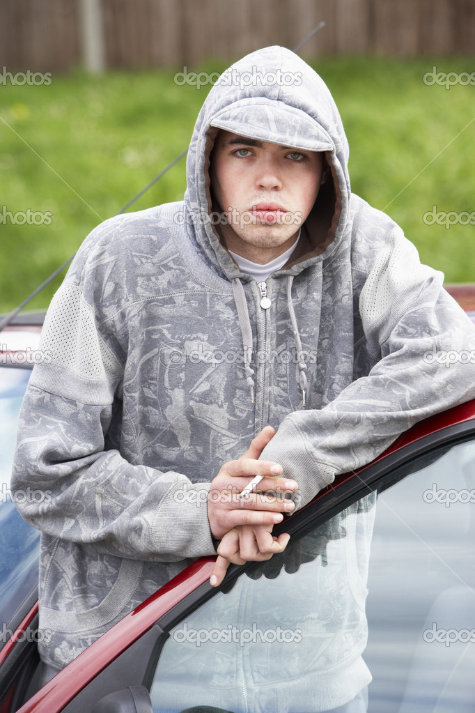 Young Man Standing Next To Car  Stock Photo #4796801
