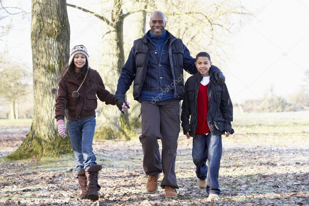 Father And Children On Autumn Walk  Stock Photo #4796829